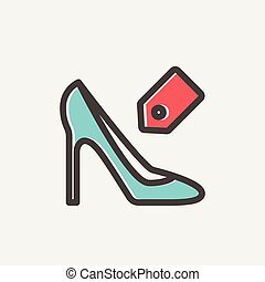Shoe with tag thin line icon - Shoe with tag icon thin line...