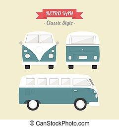 van - classic van, retro style