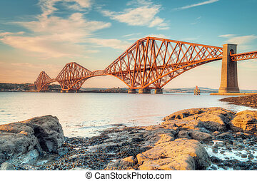 Forth Bridge at Sunset - A shot of the Forth Bridge in...