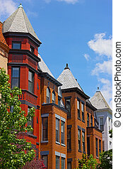 Tall row houses in historic suburb