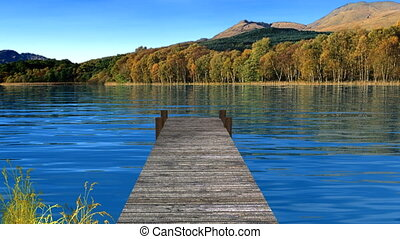 lake and dock - slight wavy lake, dock, with a float grass...