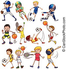 Sports - Set of children playing different kinds of sports