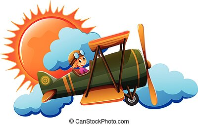 Airplane - Illustration of a person flying an airplane