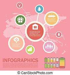 Infographics of an environment on a pink background