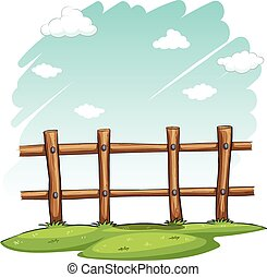 A wooden fence at the backyard on a white background