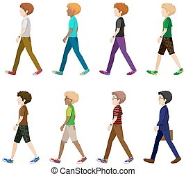 Faceless men in walking pose