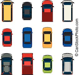 Set of vehicles - A topview of the set of vehicles on a...