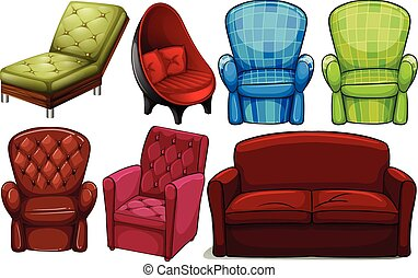 Group of chair furnitures in different designs on a white...