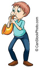 Man playing with the trumpet