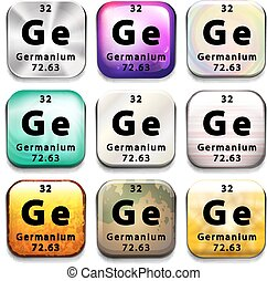 A button showing the chemical element Germanium on a white...