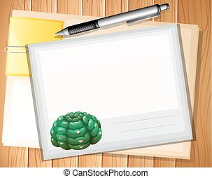 Envelop - Sheet and envelop with pen on wooden background