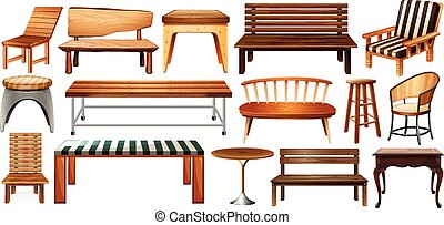 Set of furnitures - Set of wooden furnitures on a white...