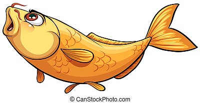 Yellow big fish on a white background