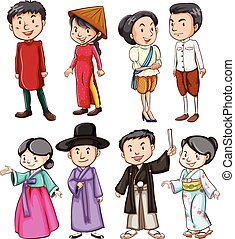 People showing the Asian culture - Group of people showing...