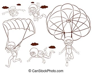 Skydiving - Illustration of people doing skydiving