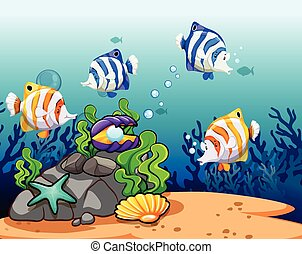 Underwater - Colorful fish with reefs under the water