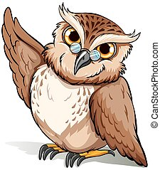 A wise owl - An English idiom showing a wise owl on a white...