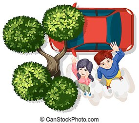Couple and car - Illustration of a couple looking up and...