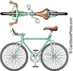 A green bike - A top and side view of a green bike on a...