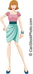 Fashion - Sketch of a woman in green skirt and pink top