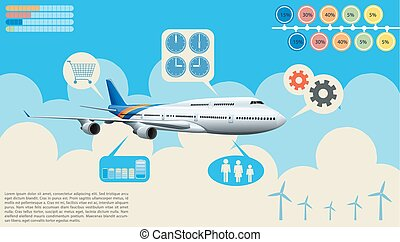 Infographics of the airplane in the sky