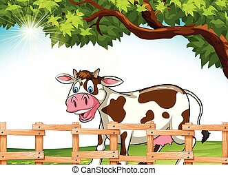A cow smiling - Cow smiling under the tree