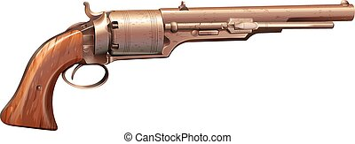 A vintage gun on a white background