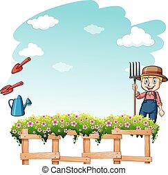 Farmer at the garden - Happy farmer at the garden on a white...