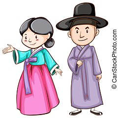 A male and a female Asian - A drawing of a male and a female...