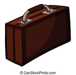 Brown attache case - Big brown attache case on a white...