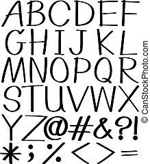 Alphabets - Black alphabets and symbolsonwhite background