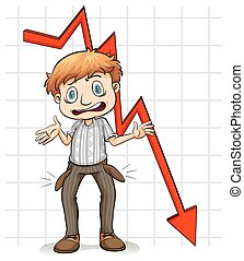 Graph showing a poor man on a white background