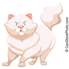 Angry cat - Angry fat cat on a white background