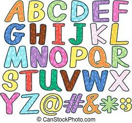 Alphabets - Set of upper case alphabets and symbols