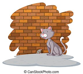 Cat waiting for the rat
