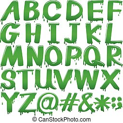 Letters of the alphabet in a melting green template