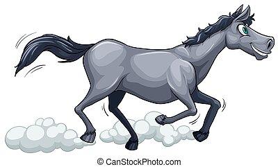 A gray horse running