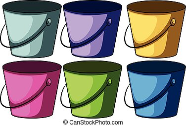 Six colourful buckets on a white background