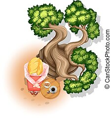 Teatime - Illustration of a woman having tea under the tree