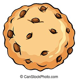 Crunchy brown cookie on a white background