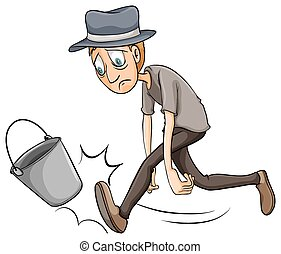 A boy kicking the pail