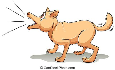 Barking - A brown dog barking upwards
