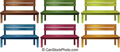 Set of benches - Set of colourful wooden benches on a white...
