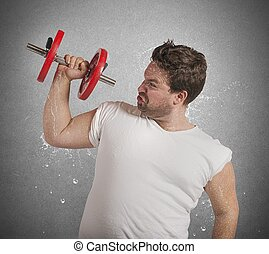 Fat man sweats - Fatigued fat man sweats while lifting...