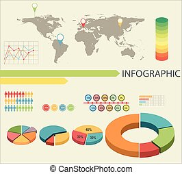 An infographics with pie graphs and a map