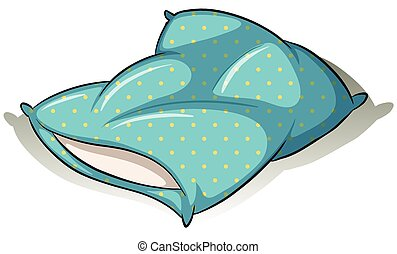 Blue pillow - Blue polkadot pillow on a white background