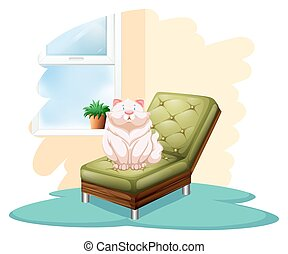 Cat above the chair - Cat above the green chair on a white...
