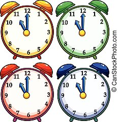 Four colourful clocks - Set of four colourful clocks on a...