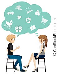 A girl and a boy talking about business