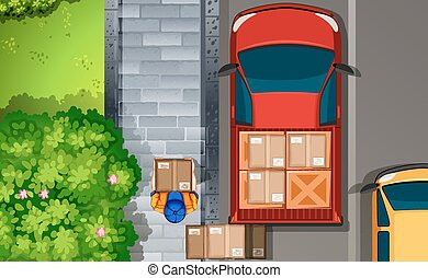 Delivery - Illustration of a delivery man walking by the...
